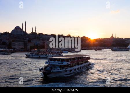 Turkey, Istanbul, Golden Horn Strait, ferry - Stock Photo