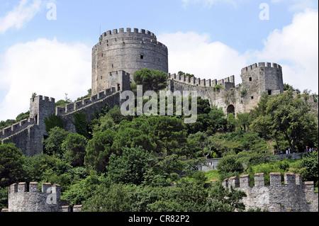 Rumelihisarı Fortress, Rumelian Castle, European Castles, Sariyer district, Bosphorus, Bogazici, European bank - Stock Photo