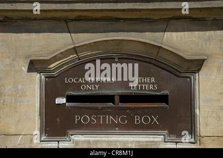 Old post box set in wall Malton North Yorkshire England UK United Kingdom GB Great Britain - Stock Photo