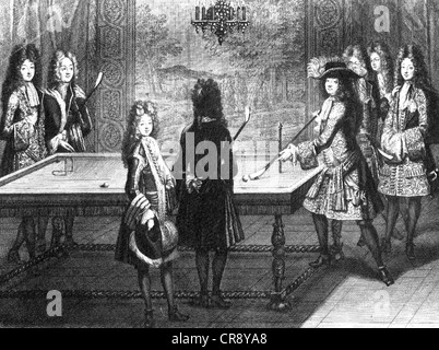 LOUIS XIV (1638-1715) of France playing an early form of billiards at Versailles in 1694 - Stock Photo