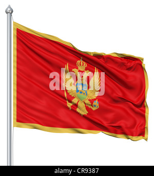 Flag of Montenegro with flagpole waving in the wind against white background - Stock Photo