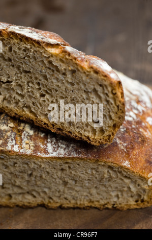Cut sourdough bread, the dough does not need to be kneaded, No-Knead-Bread - Stock Photo