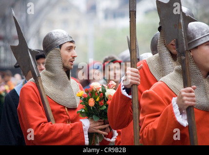ZURICH - APRIL 16: Members of Constaffel guild during traditional annual spring parade of Guilds, symbolizing end - Stock Photo