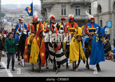 ZURICH - APRIL 16: Members of traditional annual spring parade of Guilds, symbolising end of the winter, on April - Stock Photo