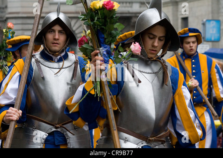 Members of traditional annual spring parade of Guilds, symbolizing end of the winter, on April 16, 2012 in Zurich - Stock Photo