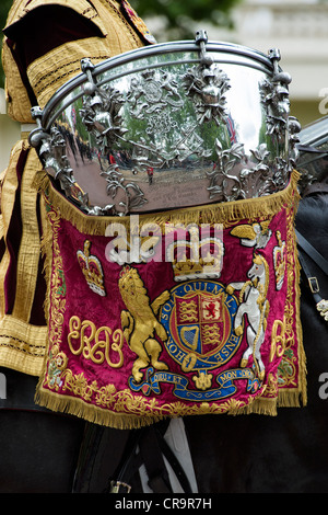 Royal Life guards ceremonial drum on horse back. Trooping The Colour to celebrate The Queen's Birthday. The Mall, - Stock Photo