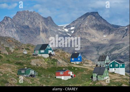 Houses, Tasiilaq, also known as Ammassalik, East Greenland, Greenland - Stock Photo