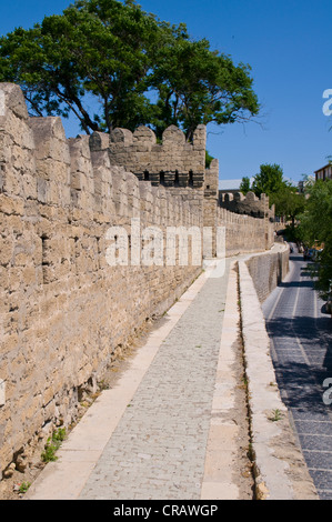 City wall of the old town, UNESCO World Heritage Site, Baku, Azerbaijan, Caucasus, Middle East - Stock Photo