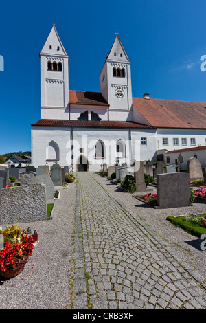 Parish church of St. John the Baptist, old Premonstratensian abbey church, Steingaden, Upper Bavaria, Bavaria, Germany, - Stock Photo