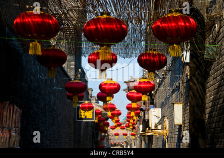 Lanterns in a side street in the historic old town of Pingyao, Unesco World Heritage Site, Shanxi, China, Asia - Stock Photo