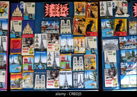 Souvenir for sales on the banks of the Seine, Notre-Dame de Paris, Ile de la Cite, Paris, France, Europe, PublicGround - Stock Photo