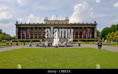 Altes Museum and a fountain in the Lustgarten park, miniature faking, smallgantics, tilt-shift effect, Museum Island - Stock Photo
