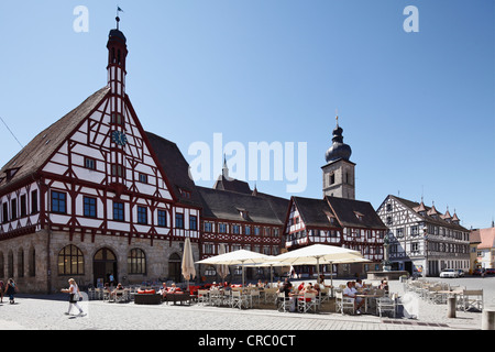 Rathausplatz square with town hall and St. Martin's Church, Forchheim, Franconian Switzerland, Upper Franconia, - Stock Photo