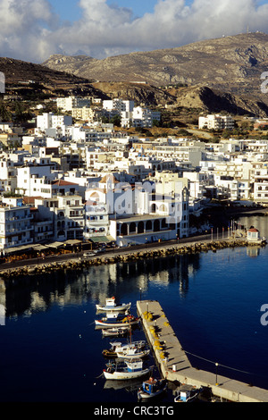 Fishing boats in the harbour, view over the town of Karpathos,  Island, Aegean Islands, Dodecanese, Mediterranean, - Stock Photo