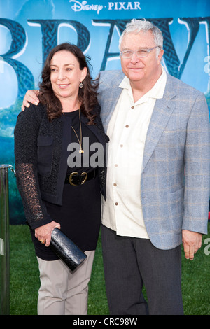 Singer, Songwriter Randy Newman and his wife Gretchen arrive at the Los Angeles Film Festival premiere of 'Brave' - Stock Photo