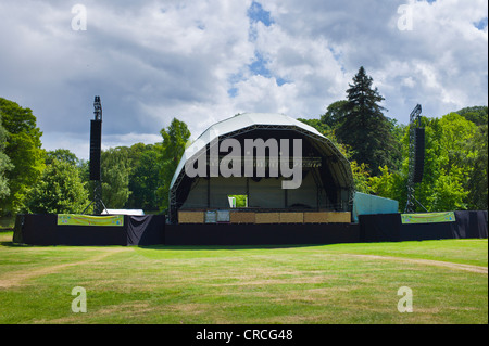 The concert stage and large speaker stacks on an outside gantry at Kenwood House - Stock Photo