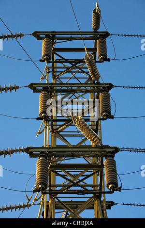 Insulators on high voltage electricity pylon, American Canyon, California, USA - Stock Photo