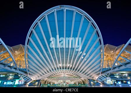 Oriente Station, Garo do Oriente, designed by Spanish architect Santiago Calatrava, on the grounds of the Parque - Stock Photo