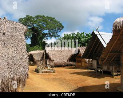 Maroon village Kajana on the Marowijne River, Suriname, Marowijne, Kajana - Stock Photo
