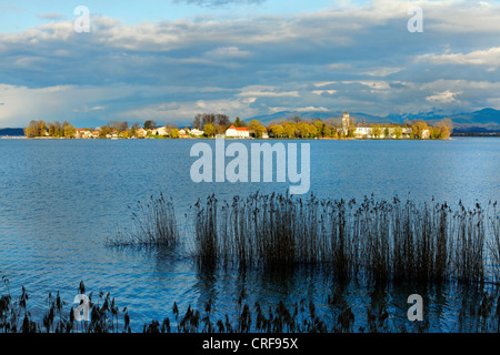 View across the the Chiemsee to the Fraueninsel,Chiemgau Upper Bavaria Germany - Stock Photo