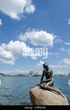 Statue of the Little Mermaid, in Copenhagen, Denmark - Stock Photo
