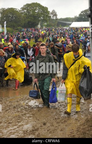 Isle of Wight, england, June 21 2012. Heavy rain and traffic congestion brings chaos to the Isle of Wight festival. - Stock Photo