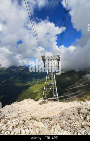 aerial view of Primiero valley with cableway pylon on foreground, Trentino, Italy - Stock Photo