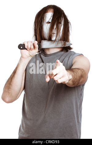 Scary horror man with knife, pointing at you, isolated on white background. - Stock Photo