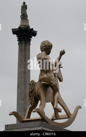 Powerless Structures, Fig 101 'Boy on a rocking Horse' 4th plinth Trafalgar square London uk 4.1m high bronze sculpture - Stock Photo