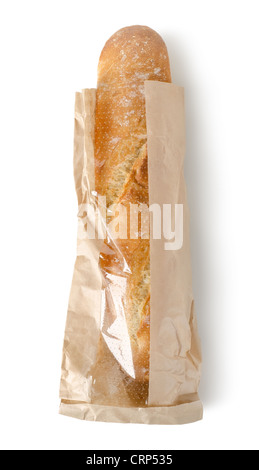 Fresh baguette in a paper bag isolated on a white background - Stock Photo