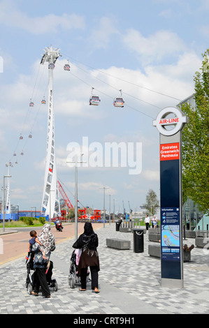 Sign for Emirates Air Line sponsored cable car service crossing the River Thames between Greenwich Peninsula and - Stock Photo