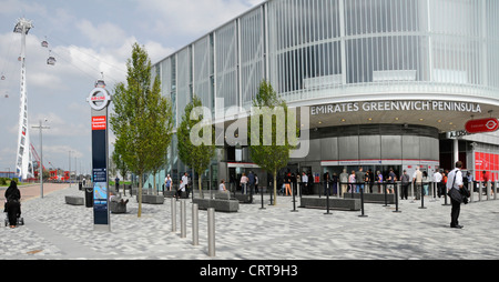 Ticket Office for Emirates Air Line sponsored cable car service crossing the River Thames from Greenwich Peninsula - Stock Photo