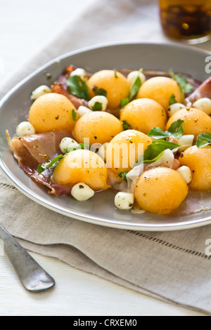 Cantaloupe,Mozzarella and Prosciutto Antipasti - Stock Photo