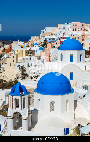 Greece Santorini Oia Blue Dome Orthodox Church - Stock Photo
