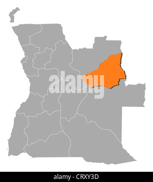 Political map of Angola with the several states where Lunda Sul is highlighted. - Stock Photo