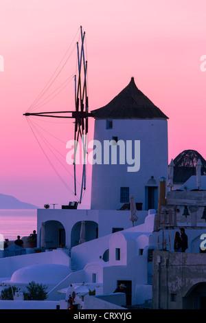 Santorini, Windmill in Oia at Sunset - Stock Photo