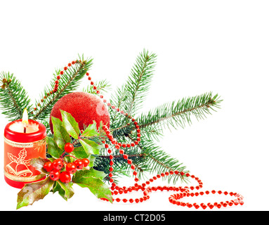 Christmas candle and green tree isolated - Stock Photo