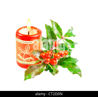 Christmas candle and green tree isolated on white  background - Stock Photo