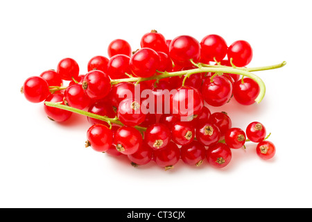 sweet red currants on white background - Stock Photo