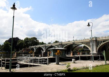 Richmond Lock and Footbridge - London, England - Stock Photo