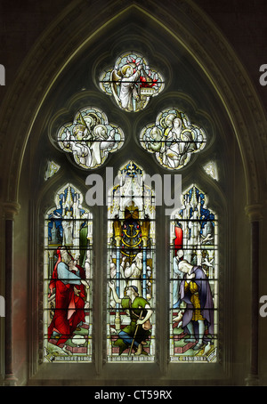 Tewkesbury Abbey  Pharisee and Publican window - Stock Photo