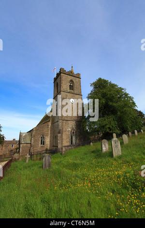 Summer, St Margarets parish church, Hawes Town; Wensleydale; Yorkshire Dales, England, UK - Stock Photo