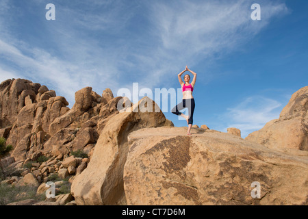 Young woman in tree pose on desert rocks - Stock Photo