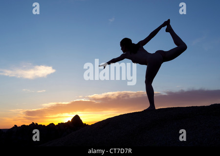 Young woman in dancer pose in desert, silhouette - Stock Photo