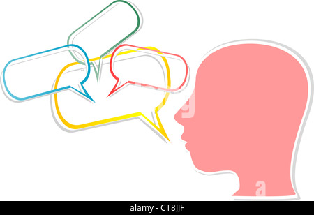 illustration of woman head with comic bubbles - Stock Photo