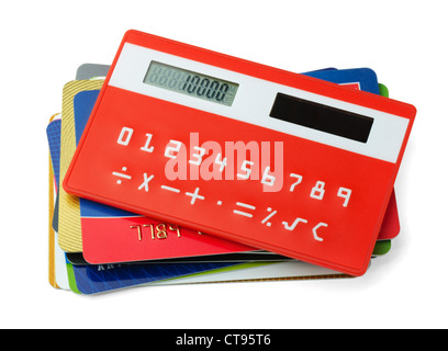 Red calculator and plastic credit cards isolated on white - Stock Photo