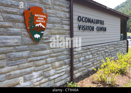Ocanaluftee visitor center is located on the east entrance to Great Smoky Mountains National Park, near Cherokee - Stock Photo