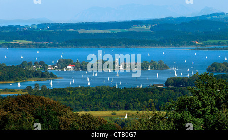 View from Ratzinger Hoehe over lake Chiemsee and Fraueninsel, Chiemgau, Upper Bavaria, Germany - Stock Photo