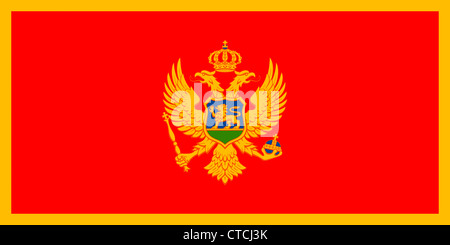 National flag of the Republic of Montenegro. - Stock Photo