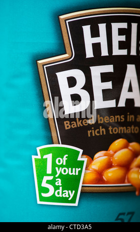 1 of your 5 a day label on a tin of Heinz Baked Beans - Stock Photo